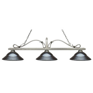 Melrose Antique Silver Three-Light Pendant with Stepped Gun Metal Metal Shades