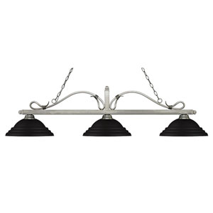 Melrose Antique Silver Three-Light Pendant with Stepped Matte Black Metal Shades