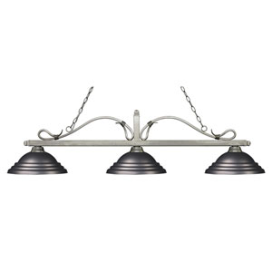 Melrose Antique Silver Three-Light Pendant with Stepped Olde Bronze Metal Shades