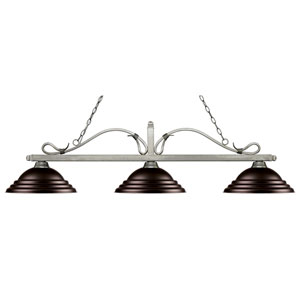 Melrose Antique Silver Three-Light Pendant with Stepped Bronze  Metal Shades
