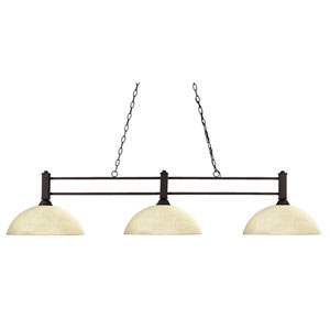 Challenger Three-Light Bronze Island Pendant with Domed Golden Mottle Glass Shades