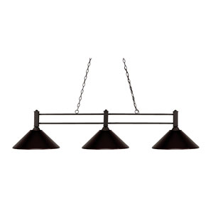 Challenger Bronze Three-Light Island Pendant with Bronze Steel Shade