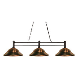 Challenger Bronze Three-Light Island Pendant with Antique Copper Steel