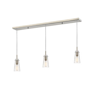 Monte Brushed Nickel Three-Light Billiard Pendant with Clear Seedy Glass