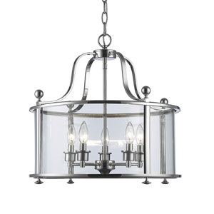 Wyndham Chrome Five-Light Lantern Pendant