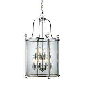 Wyndham Chrome Eight-Light Lantern Pendant