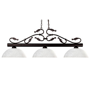 Bourbon Three-Light Bronze Island Pendant with Domed White Linen Glass Shades