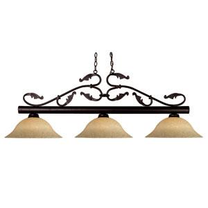 Bourbon Bronze Three-Light Billiard with Golden Mottled Glass Shades