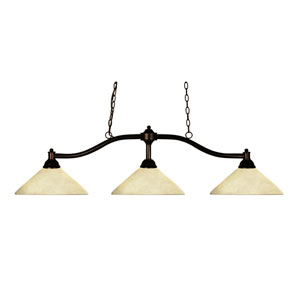 Chance Three-Light Bronze Island Pendant with Angled Golden Mottle Shades