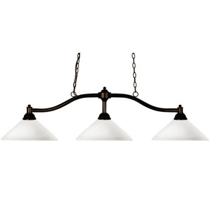 Chance Three-Light Bronze Island Pendant with Angled Matte Opal Glass Shades