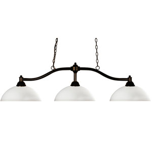 Chance Three-Light Bronze Island Pendant with Domed Matte Opal Glass Shades