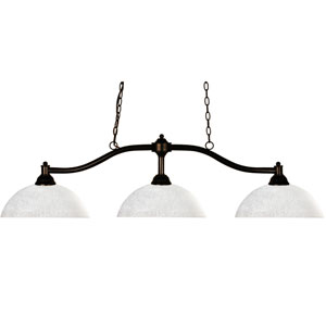 Chance Three-Light Bronze Island Pendant with Domed White Linen Glass Shades