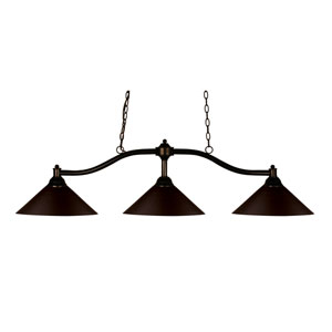 Chance Bronze Three-Light Island Pendant with Bronze Steel