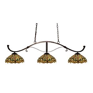 Howler Bronze Three-Light Billiard Light with Multi-Colored Tiffany Shade