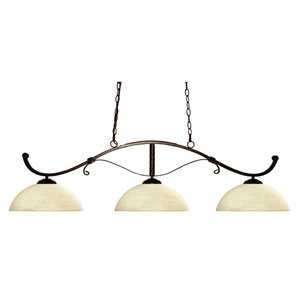 Howler Three-Light Bronze Island Pendant with Domed Golden Mottle Glass Shades
