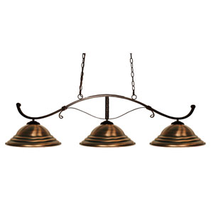 Howler Bronze Three-Light Island Pendant with Antique Copper Steel