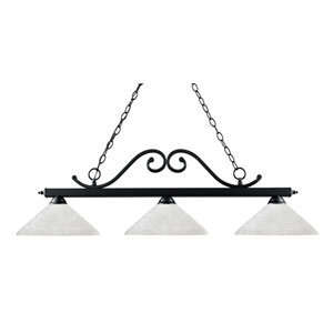 Windsor Three-Light Matte Black Island Pendant with Angled White Linen Glass Shades