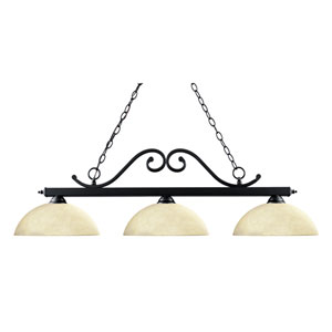 Windsor Three-Light Matte Black Island Pendant with Domed Golden Mottle Glass Shades