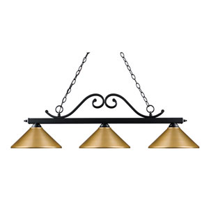 Windsor Matte Black Three-Light Island Pendant