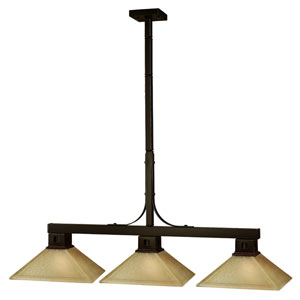 Flatwater Bronze Three-Light Billiard Pendant with Beige Distressed Glass
