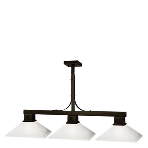 Flatwater Three-Light Bronze Island Pendant with Mission Matte Opal Glass Shades