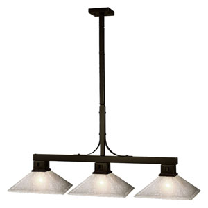 Flatwater Bronze Three-Light Billiard Pendant with White Distressed Glass