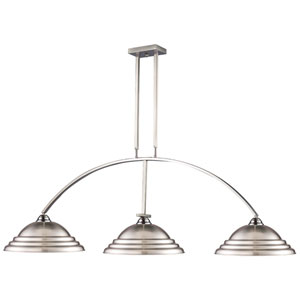 Martini Brushed Nickel Three Light Billiard