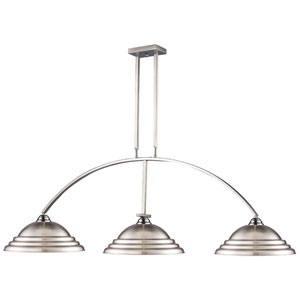Martini Brushed Nickel Three-Light Billiard Pendant with Metal Shades