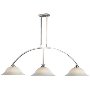 Martini Brushed Nickel Three-Light Billiard Pendant with White Mottled Glass