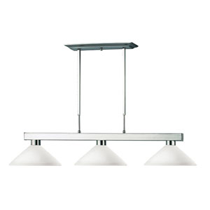 Cobalt Three-Light Brushed Nickel Island Pendant with Angled Matte Opal Glass Shades