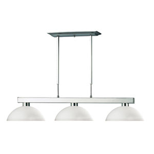 Cobalt Three-Light Brushed Nickel Island Pendant with Domed Matte Opal Glass Shades