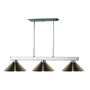 Players Brushed Nickel Three-Light Island Pendant with Brushed Nickel Steel Shade
