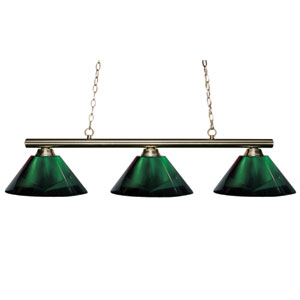 Sharp Shooter Brushed Nickel Three-Light Billiard Pendant with Green Ribbed Glass
