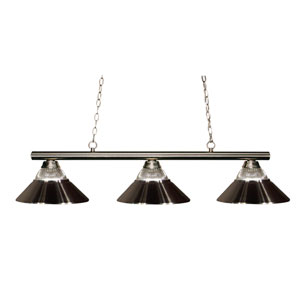 Sharp Shooter Brushed Nickel Three-Light Billiard Pendant with Ribbed Glass