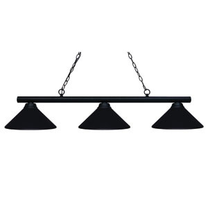 Sharp Shooter Matte Black Three-Light Billiard Pendant