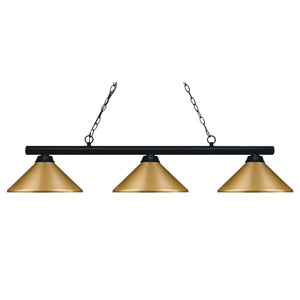 Sharp Shooter Matte Black Three-Light Island Pendant