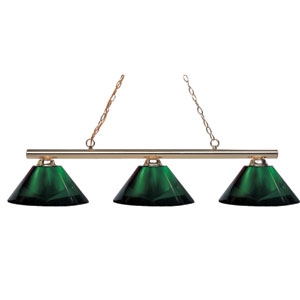 Sharp Shooter Three-Light Polished Brass Island Pendant with Angled Green Shades