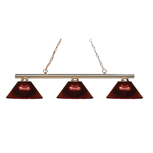 Sharp Shooter Polished Brass Three-Light Billiard Light with Burgundy Glass