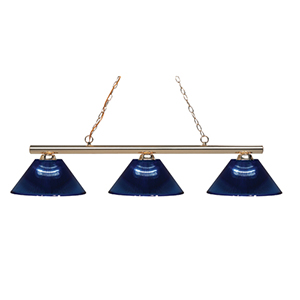 Sharp Shooter Polished Brass Three-Light Billiard Light with Dark Blue Glass