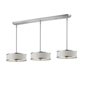 Cameo Nine-Light Chrome Island Pendant with White Fabric Shades