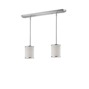 Cameo Two-Light Chrome Pendant with White Fabric Shades