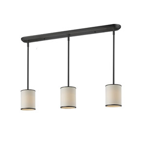 Cameo Three-Light Bronze Pendant with Creme Fabric Shades