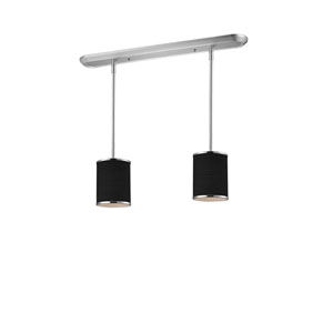 Cameo Two-Light Chrome Pendant with Black Fabric Shades