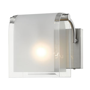 Zephyr Brushed Nickel One-Light Wall Sconce with Clear Beveled and Frosted Glass