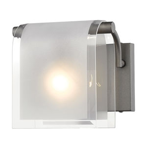 Zephyr Factory Bronze One-Light Wall Sconce with Clear Beveled and Frosted Glass