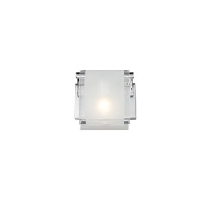Zephyr One-Light Chrome Wall Sconce with Frosted Glass Shade