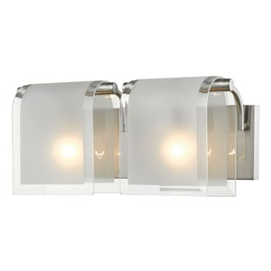 Zephyr Brushed Nickel Two-Light Vanity with Clear Beveled and Frosted Glass