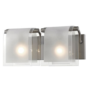 Zephyr Factory Bronze Two-Light Vanity with Clear Beveled and Frosted Glass