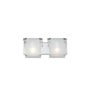 Zephyr Two-Light Chrome Vanity Fixture with Frosted Glass Shades