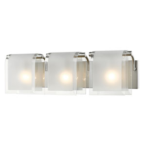 Zephyr Brushed Nickel Three-Light Vanity with Clear Beveled and Frosted Glass